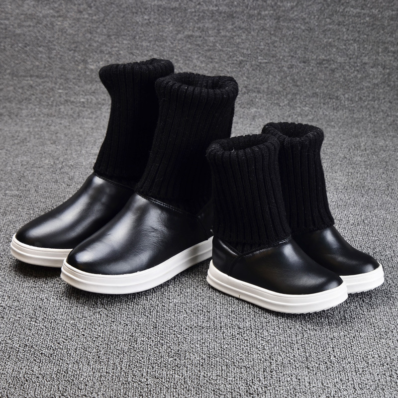 2016 Winter High Quality Children Knitting Wool Boots Kids Paint Cow Leather Snow Boots Girls Korean Design Fashion Boots(China (Mainland))