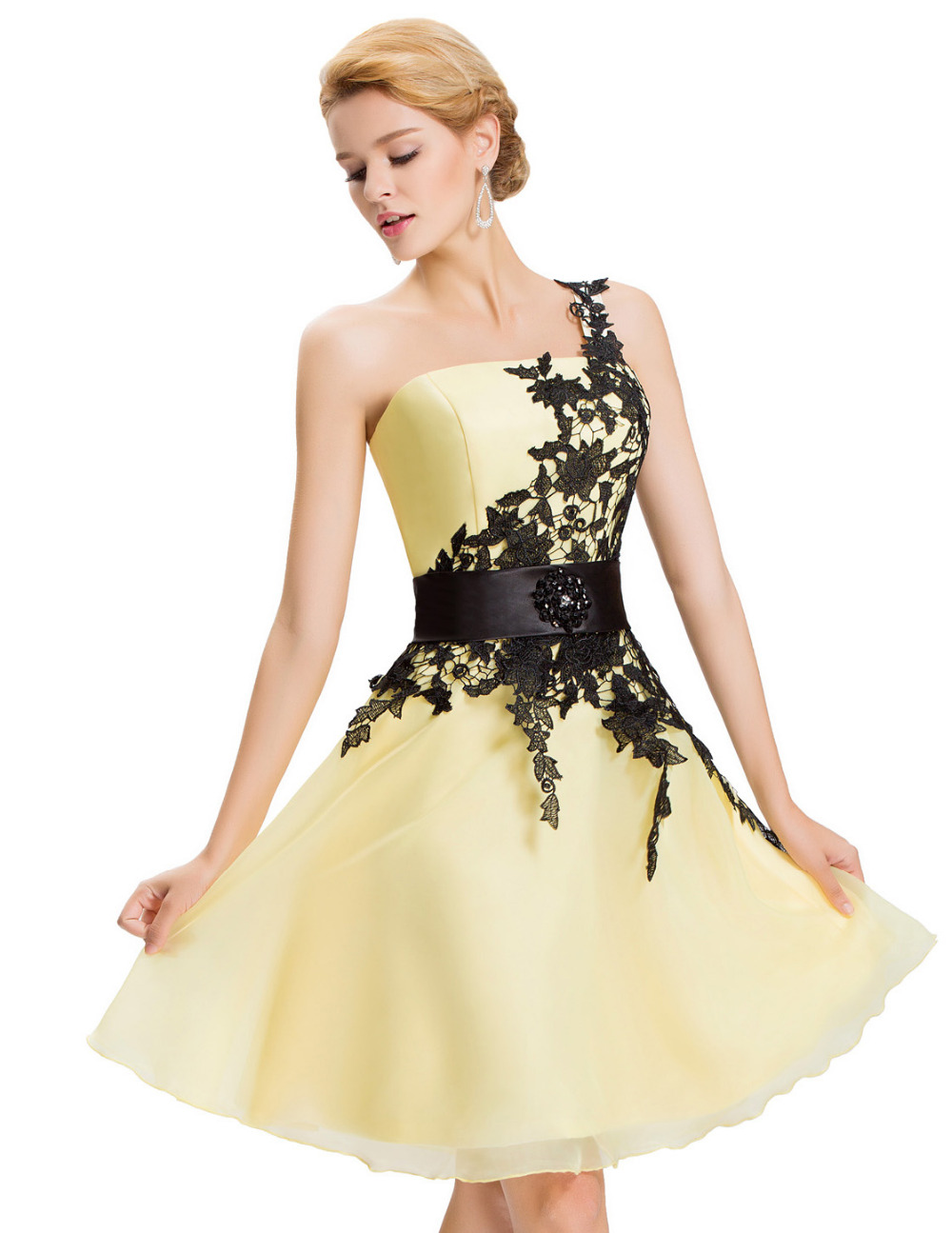 Yellow Homecoming Dresses Yellow is a warm, joyful, and inviting color that has been growing in popularity recently. Yellow homecoming dresses are unique look which not everyone can pull off.
