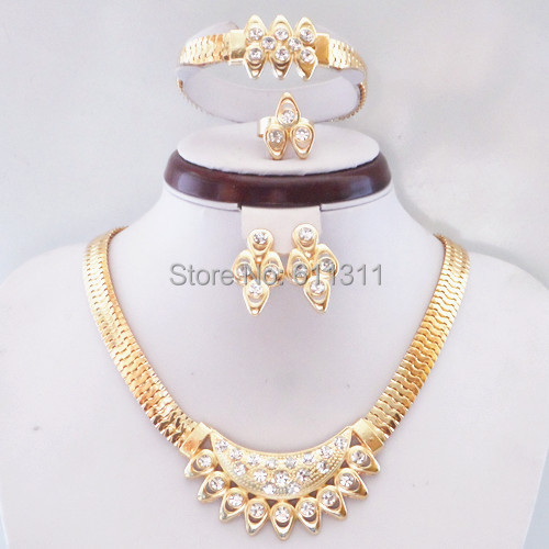 Austrian Crystals 18k Yellow Gold Filled Necklace Earrings Bracelet Ring Wedding Accessories Elegant Jewelry Sets Free Shipping