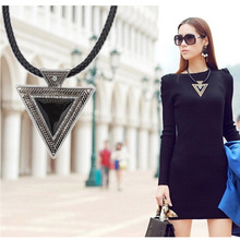 Hot Collares 2016 Bijoux Fashion Vintage Jewelry Gold Chain Triangle Statement Necklace Leather Rhinestone Necklaces & pendants(China (Mainland))