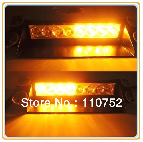 100% new brand high Power Amber 8-LED Strobe Mini Lightbar Dash Lamp Emergency light warninglight school bus waring light(China (Mainland))