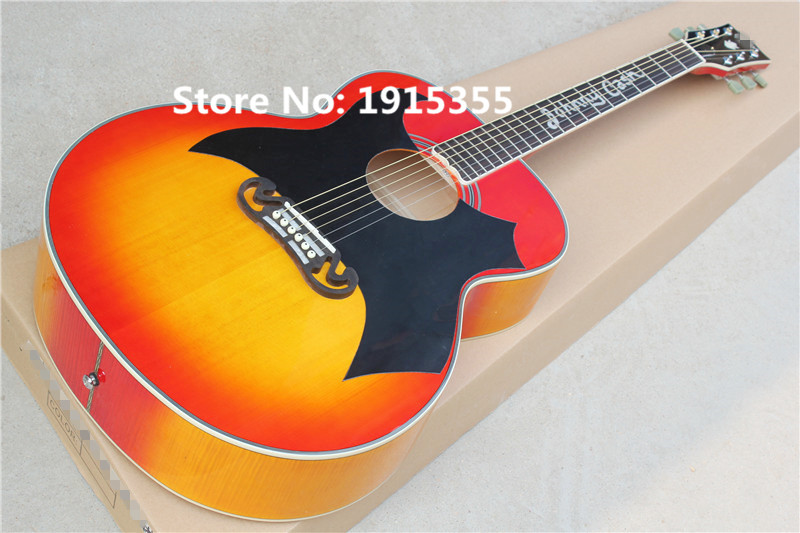 Hot sale Factory custom 43 inch 20 frets cherry sunburst acoustic guitar with black big pickguard,can be added fishman pickups(China (Mainland))