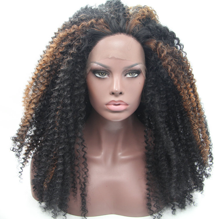 Black with brown highlight cheap long curl synthetic lace front wigs for black women <br><br>Aliexpress