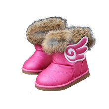 Girls Winter Shoes Baby Boots 2016 New Rabbit Fur Boots Pu Leather Baby Shoes Snow Kids Boots Colorful Girls Warm Shoes 21-30(China (Mainland))
