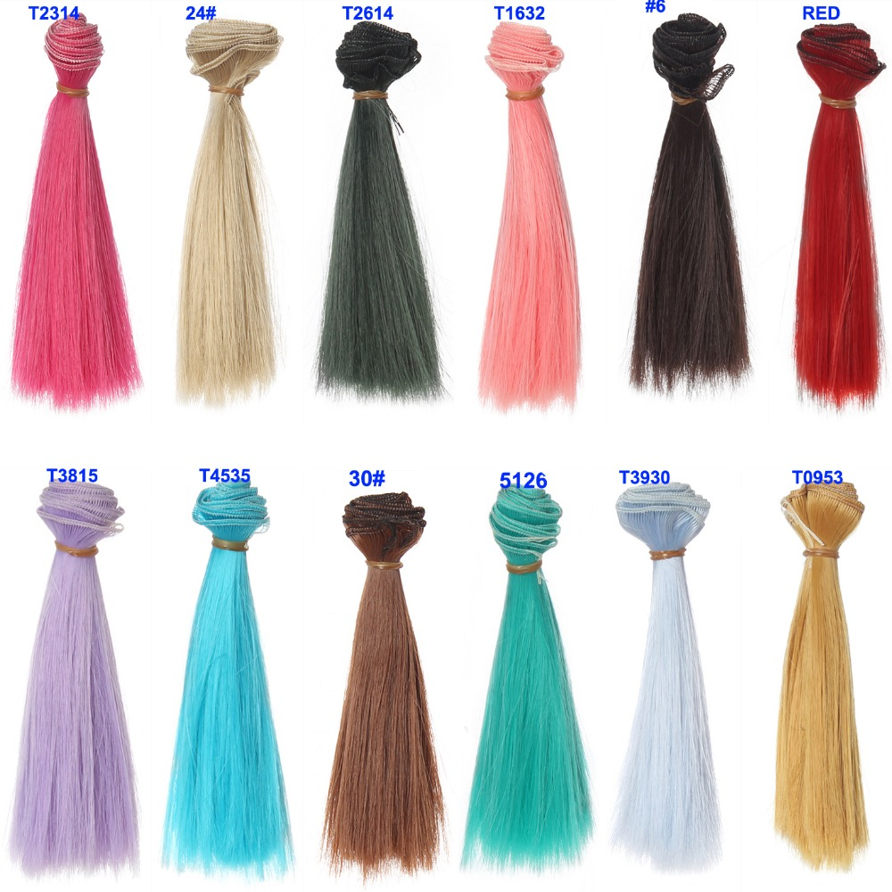 15cm length 1 piece pink green blue red white color thick bjd wigs doll hair for barbie doll for monster high doll(China (Mainland))