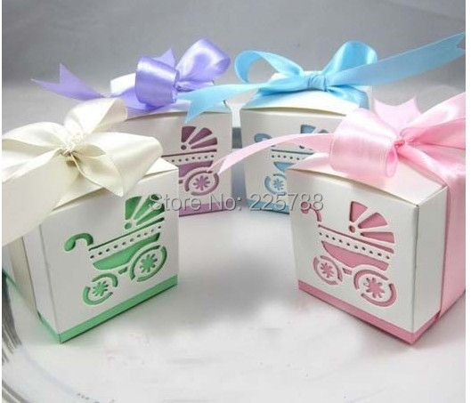 Gift Box Baby Shower Invitations : Pcs lot baby shower ribbon favour gift candy boxes