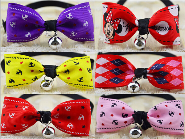 Free Shipping Pet dog Bow tie With Bell Hairpins necklace dog accessories