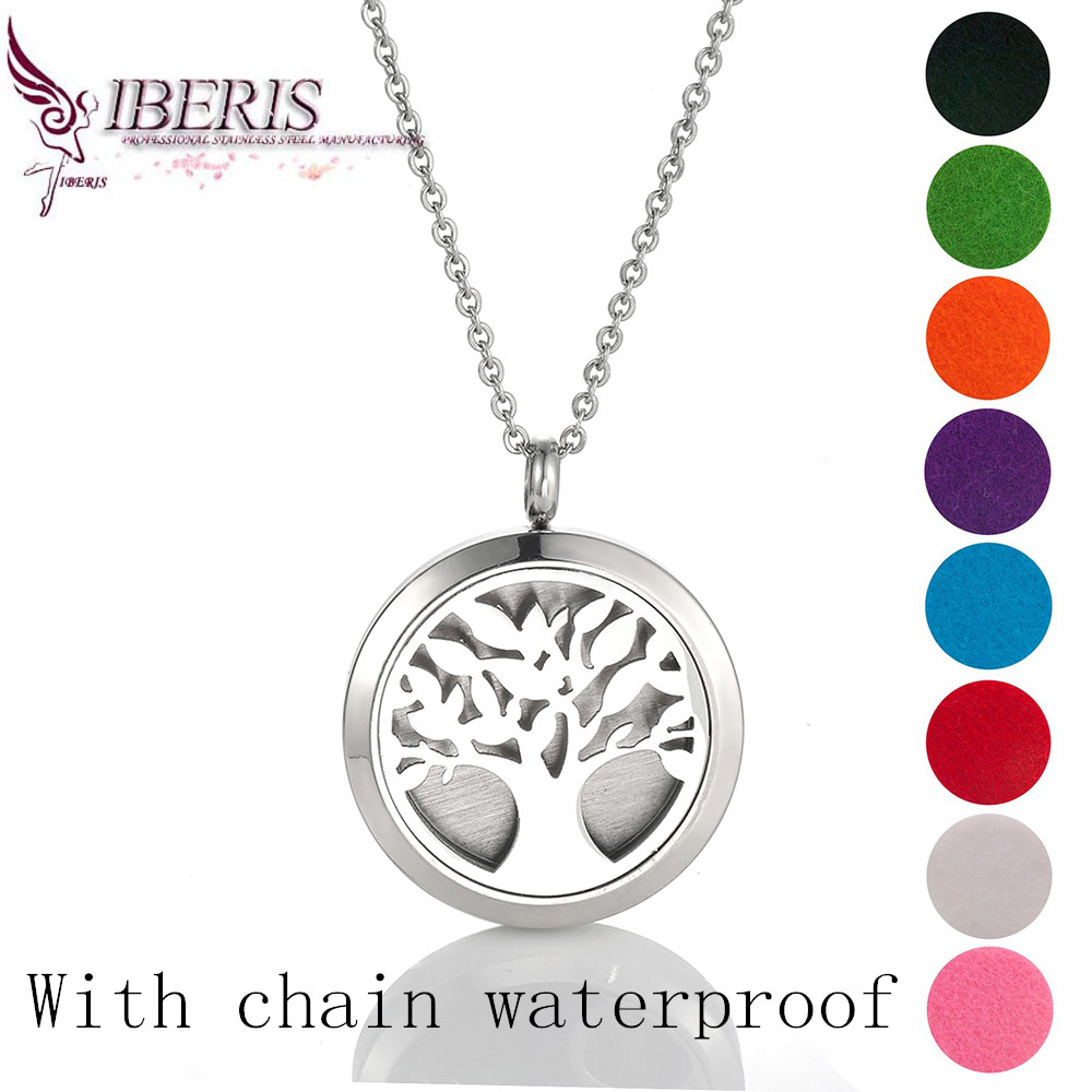 waterproof 30mm tree of life Aromatherapy Essential Oil surgical silver Stainless Steel Pendant Perfume Diffuser Locket Necklace(China (Mainland))