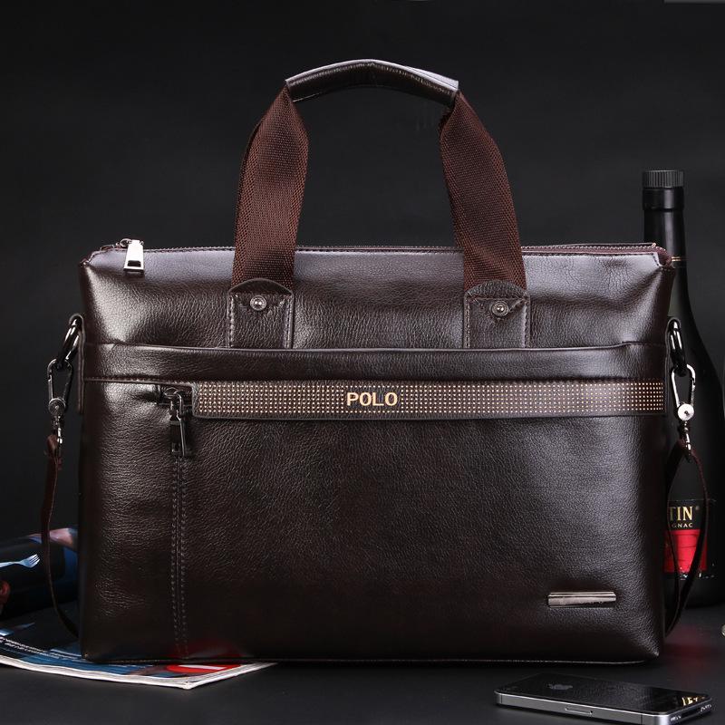 Big discount Pocket Zipper men Shoulder Genuine Leather Bag Handbag Messenger Briefcase Computer Laptop Bags Men's Travel Bags(China (Mainland))