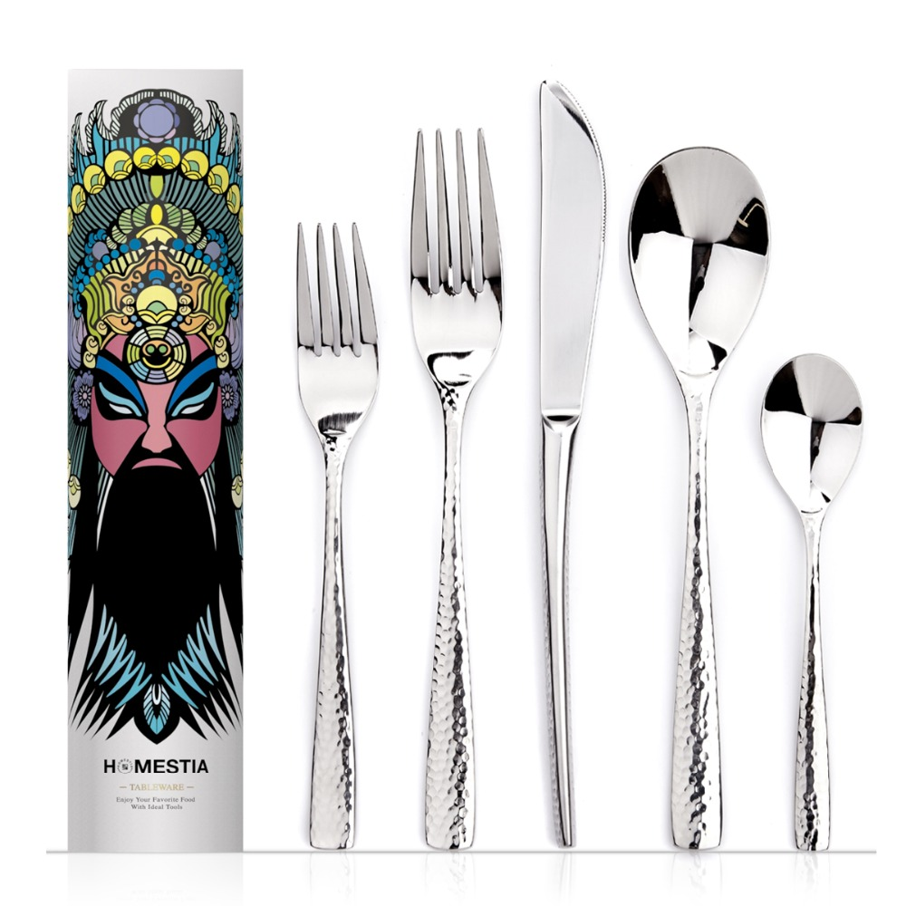 5pcs Tableware Stainless Steel Western Dinnerware Sets Of Forks and Knives Spoons Spots Design Portable Servicing Enjoy Flatware(China (Mainland))