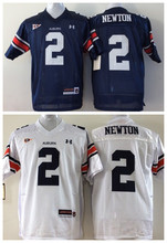 New College Football Jerseys,Auburn Tigers #2 Cam Newton Blue White,Stitched Logos(China (Mainland))