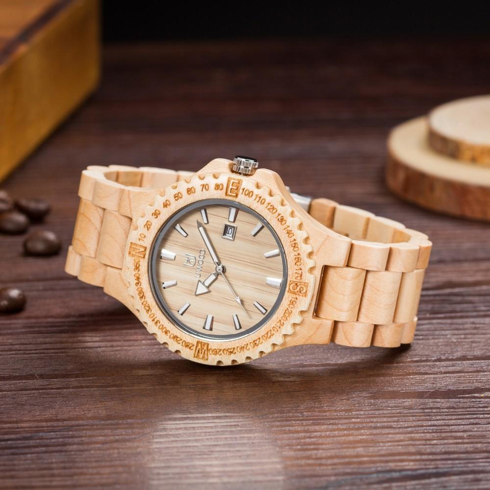 Мода Деревянный Кварцевые Часы Мужчин Творческий Подарок Повседневная Вуд Часовой Бренд с Календарем Дисплей relogio masculino Наручные Часы Relojes