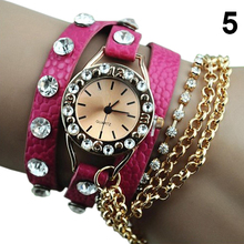 Popular The Ex-worked Women's Hawaiian Sparkling Rhinestone Long Leather Quartz Sling Chain watches 5V6E W2E8D