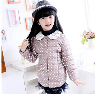 5-9 years down jacket for girl red pink Gray winter Slim thin coat outerwear for girls children's blusa de frio(China (Mainland))