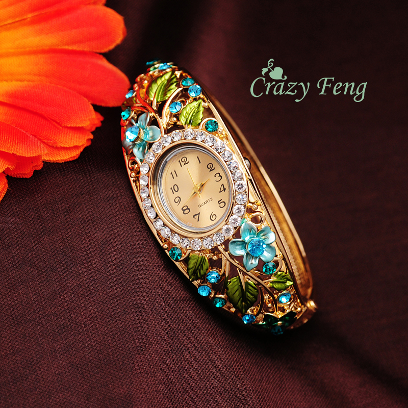 Free Shipping 4 Colors GENEVA Bangle Watches 18k Gold Filled Crystal Flower Women Bracelet Dress Quartz Watch Casual Wristwatch(China (Mainland))