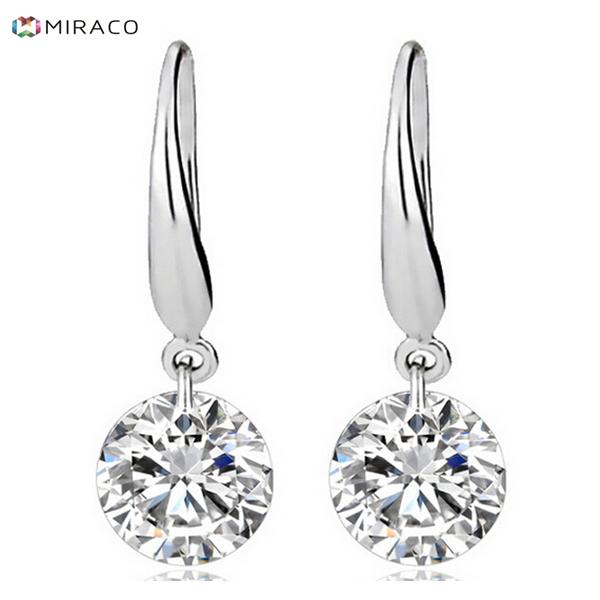 925 sterling silver earrings brilliant AAA cubic zirconia drop earrings brand cc earrings crystal CZ diamond earrings for women(China (Mainland))