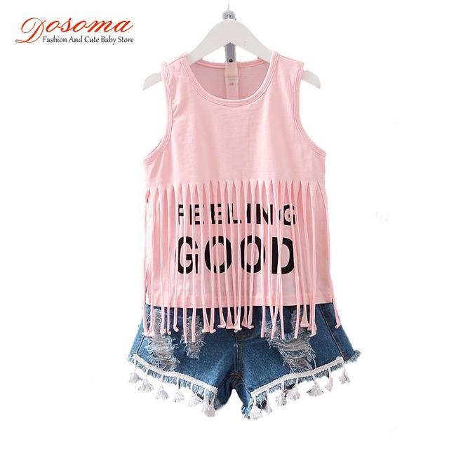 Детская одежда 2016 летний стиль девочки одежда комплект бахромой жилет буква т - ...
