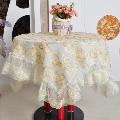 High-grade lace embroidery Round table cloth fabric fashion jacquard print Multi-function tablecloth bedside cover - Floral Fairy store