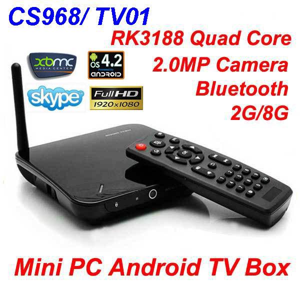 CS968/TV01 Android TV Box Quad Core XBMC Media player 2MP Camera Mic Bluetooth RK3188 1.6GHz 2G/8G HDMI AV Out WiFi Mini PC(China (Mainland))