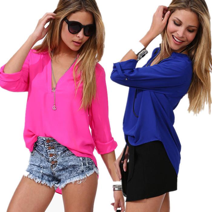 Женские блузки и Рубашки New brand 2015 V блузки и рубашки