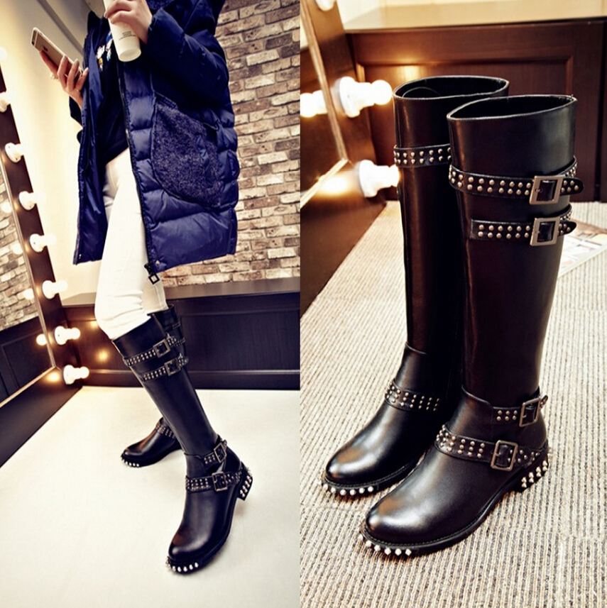 Black Rivet Genuine Leather Knee High Boots Flat Low Heels Shoes Women Tb092113<br><br>Aliexpress