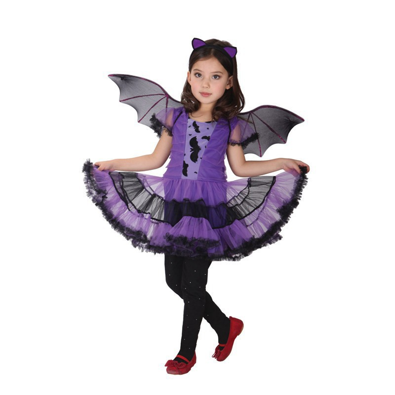 Fancy Masquerade party bat cosplay dress witch costume Halloween evening purple wing headband Merry Christmas - Fashion Baby House store