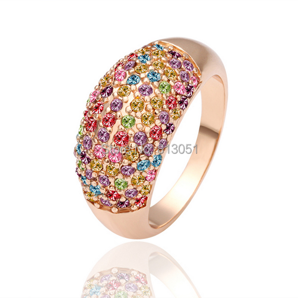 Free shipping Finger Ring Kawaii Zinc Alloy real rose gold plated with rhinestone multi colored lead