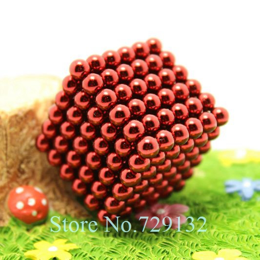 Free shipping 5mm Buckyballs Magnetic balls Neocube Magic cube Magnet Puzzle (Red color, Round tin box)(China (Mainland))