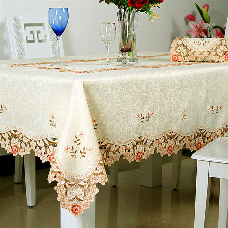 Luxury Tablecloth Set Beige Satin Dining Table Cover Jacquard Fabric Table Cloth Hollow Out Embroidery Runner Round Tablecloths(China (Mainland))