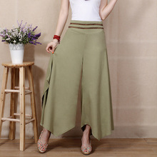 2015 summer new women printing Nine sub trousers cotton linen pants casual baggy pants swinging leg pants wide leg pants female(China (Mainland))