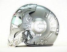 Personality motorcycle helmet Genuine men and women iron man the retro high-end off-road motorcycle silver Warrior(China (Mainland))