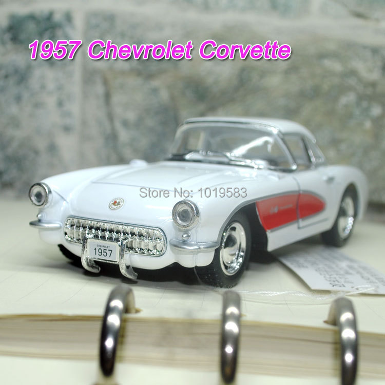 Brand New 1/34 Scale Diecast Car Model Toys Classic 1957 Chevrolet Corvette Vintage Metal Pull Back Car Toy For Gift/Children(China (Mainland))