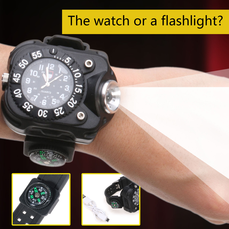 NEW 5 Modes Rechargeable  LED Wrist Watch Flashlight Torch USB Charging Wrist Model Tactical LED Flashlight With Compass<br><br>Aliexpress