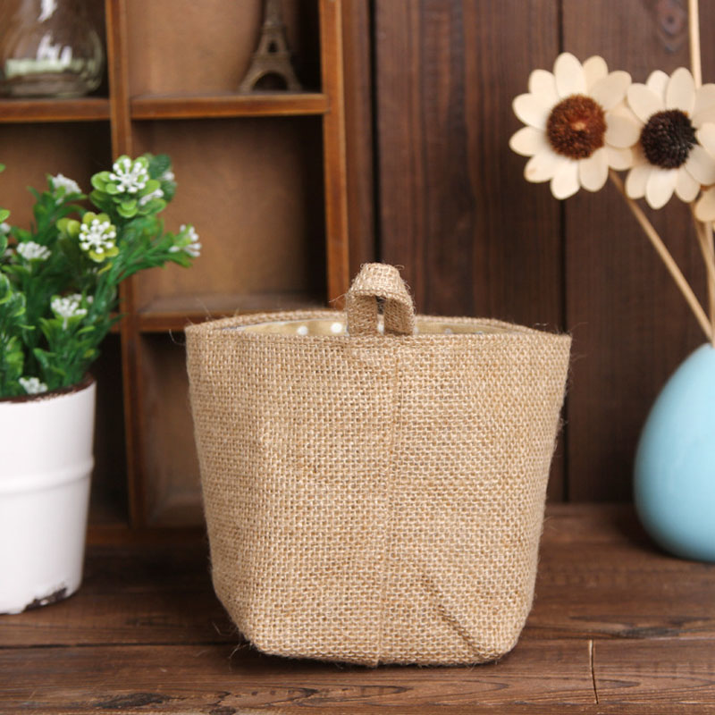 Apr 28 Mosunx Business Polka Dot Small Storage Sack Cloth Hanging Non Woven Storage Basket(China (Mainland))