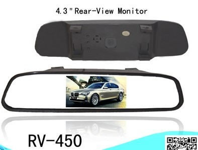 4.3 inch universal car rear-View mirror monitorAV signal auto detect power on/off RV-450 back GPS camera - V STAR E-COMMERCE store
