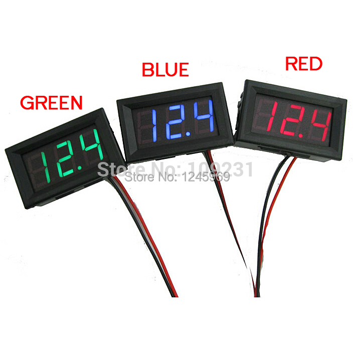 A28 Free shipping 1pc Mini DC 0~30V LED Panel Voltage Meter Digital LED Display Voltmeter Motorcycle Car T1105 P(China (Mainland))