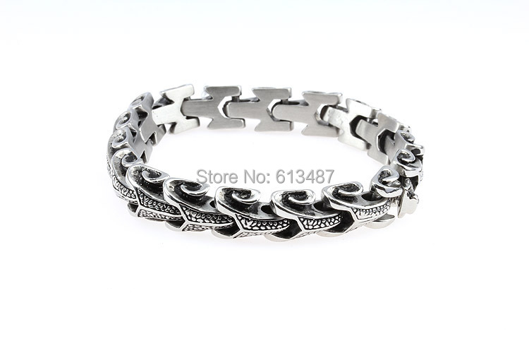 "8.26""*11mm 2014 New Shiny Vintage Jewelry Fashion Figure Titanium Steel Silver Men Tone Cube Chain Bracelet Bangle, Good Gift(China (Mainland))"