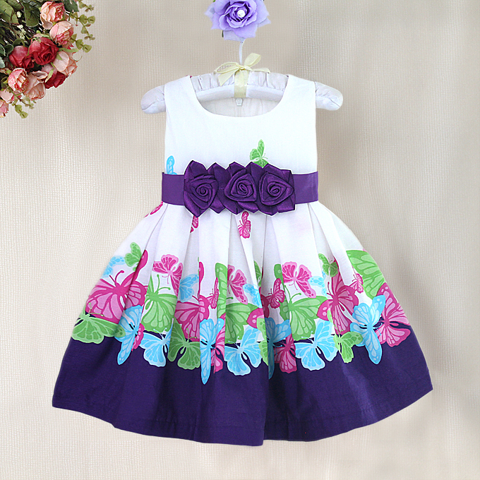 High quality baby Girl Dresses dot Print baby dress with Bow butterfly pattern Fashion cotton children Dress high street<br><br>Aliexpress