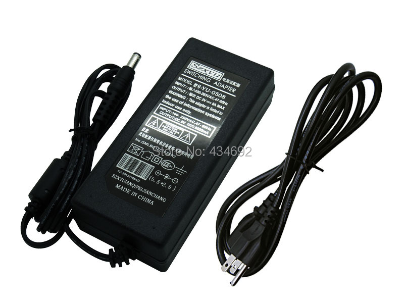 Free DHL Shipping EU UK 5V 8A Power Supply AC to DC Switching Adapter For WS2811