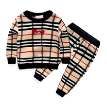 2016 spring fashion plaid baby boys clothing sets bow tie style long sleeve + pants suits for infant boy clothes tracksuits(China (Mainland))