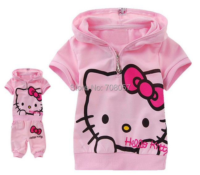 Retail 2016 summer children girls short sleeve t-shirts+ pants 2cps baby clothing set stock  -  shop store