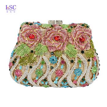 LaiSC Luxury crystal clutch evening bags Rose flower sparkly women diamante bag colorful wedding banquet handbags prom bag SC040