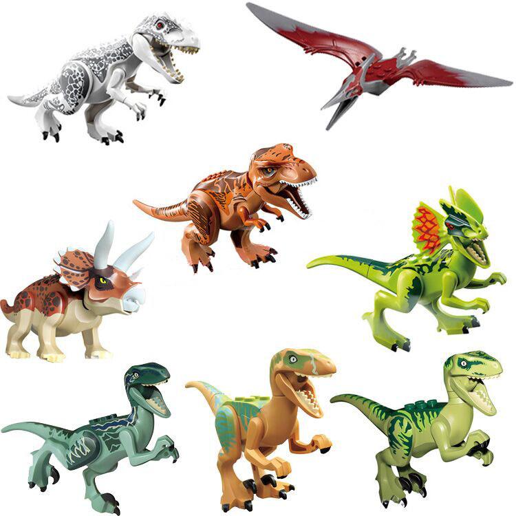 Jurassic World Park Minifigures Dinosaur Bricks Mini Figures Building Blocks Super Heroes baby toys Compatible legoe - Craft Toys store