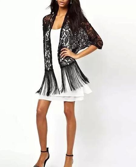 ZA brand 2015 summer style Openwork lace fringed hem In the sleeve women cardigan jacket fashion female Sun clothes coat #C030(China (Mainland))