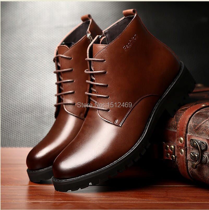mens winter boots 2014 lace up boots genuine