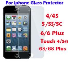 Закаленное стекло для ipod touch , iphone 4 / 4S 5 / S / C 6 / 6 S плюс 4.7 и 5.5 дюймов дисплей защитная крышка фильм