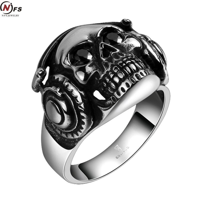 NFS 316L Stainless Steel Ring Big Skull With Headphone Ring Hot Mens Boy Skull Head Ring 316L Stainless Steel Punk Style Ring(China (Mainland))