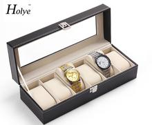 Бесплатная доставка новое поступление наручные часы дисплей для хранения организатор Box контейнер 6 сотовый кожа оконный чехол часы Box горячая распродажа