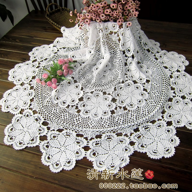 Free shipping 2015 New Hand-crocheted Round Tablecloths pure cotton Lace weaving Tablecloth Pastoral nostalgia Upholstery(China (Mainland))