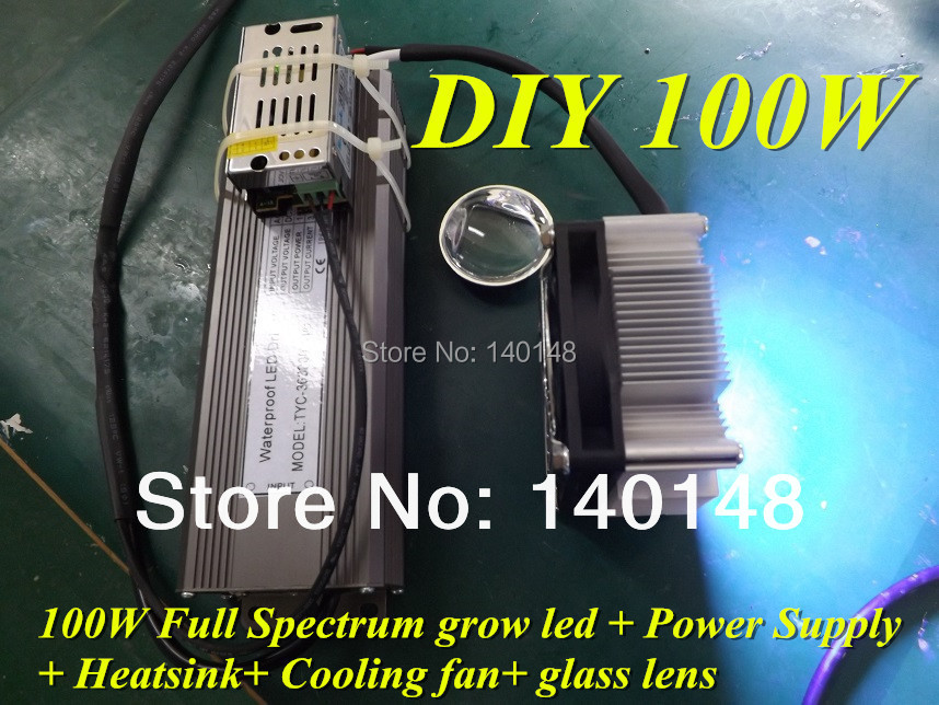 100W DIY LED Grow KIT,100W full spectrum led grow light chip+100w power supply+ heat sink+ fan and driver + lens and reflector(China (Mainland))